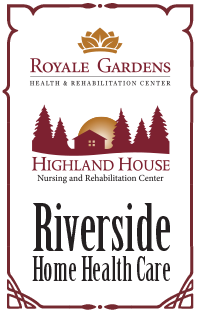 Highland House, Royale Gardens, and Riverside Home Health Care Combo Logo