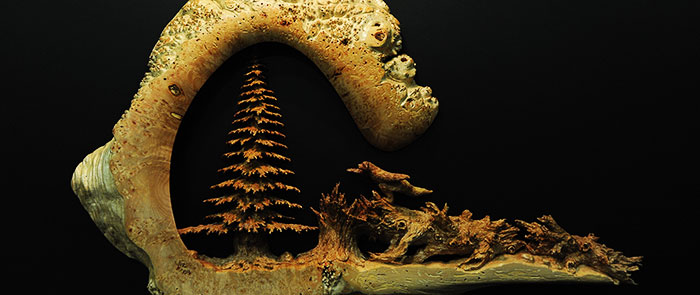 Rogue Winterfest 2012 Artwork: Wood Sculpture, Christmas Tree Scene